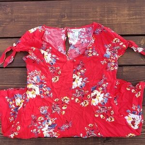 Dresses & Skirts - Bohemian Red Floral Bow Tie Sleeve Button Dress